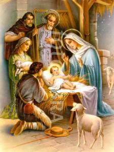 Vintage nativity scene with glitter