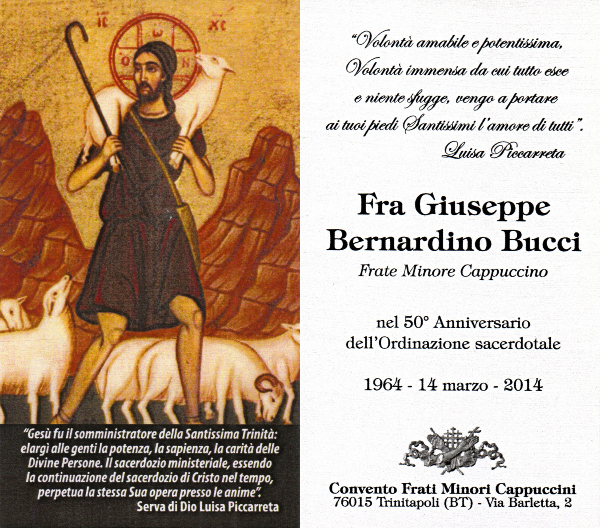 50th Anniversary Of Friar Giuseppe Bernardino Buccis Ordination To