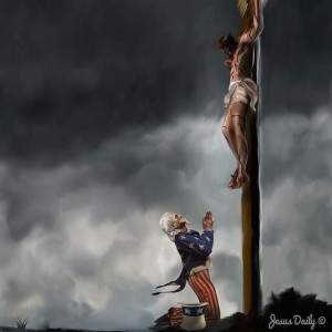 America praying to Jesus